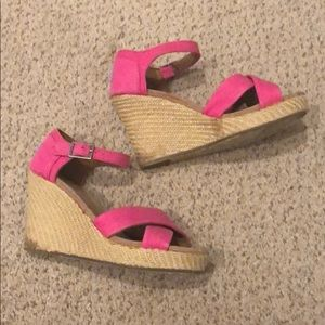Pink Strapped Toms Wedges